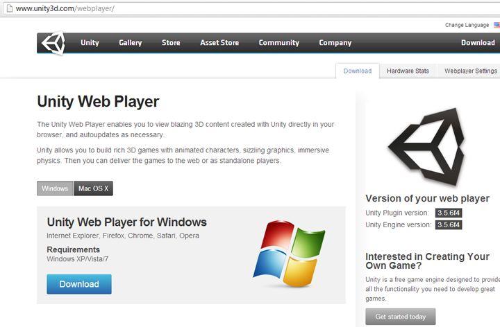 unity web player install now скачать