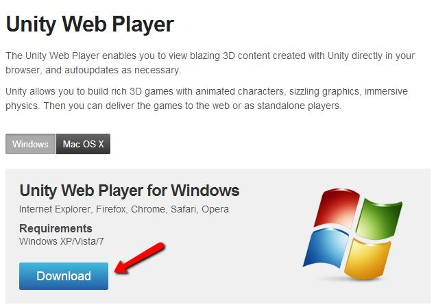 I can't install Unity Web Player from the game, how do I